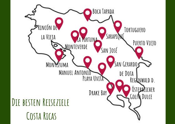Karte Reiseziele Costa Rica
